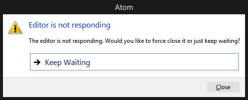 atom is not responding
